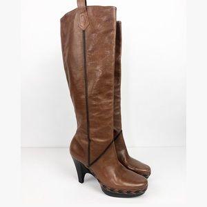 COLE HAAN Brown Leather Knee High Heel Boots- 7